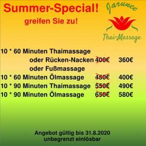 Jarunee-Thaimassage Angebot August 2020